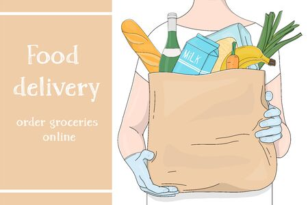 Advertising poster with an unrecognizable person carrying a paper bag from a supermarket with food. Grocery, fruit, vegetables and space for your text.