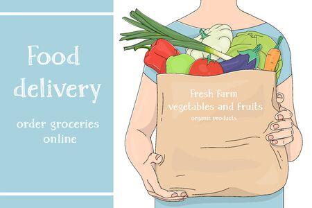 Advertising poster with an unrecognizable man carrying a paper bag from a supermarket with vegetables. Fresh vegetables and space for your text. Colorful vector illustration on a white background. Hand-drawn.
