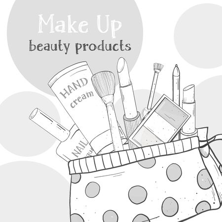 Poster with womens cosmetics in a cosmetic bag . Decorative cosmetics for face and nails. Monochrome vector illustration in sketch style. For fashion magazines, booklets, websites, and apps.