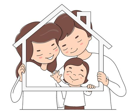 Happy family in white clothes. The father, mother and child keep the frame in the shape of a house. Colorful stylish vector illustration on a white background. Stay at home. Ilustração