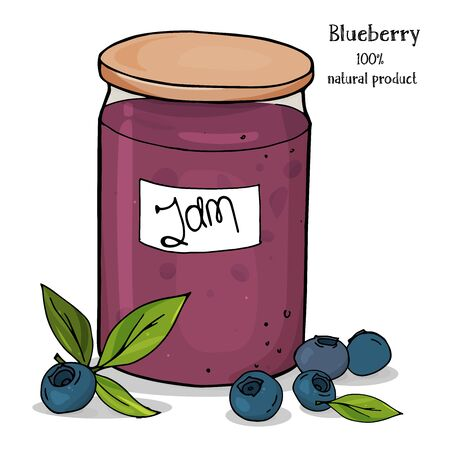 Natural organic homemade blueberry jam in glass with a tag. Colorful vector illustration on a white background in sketch style. Hand-drawn.