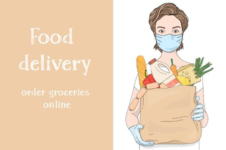 Poster of a woman wearing a protective mask and gloves carrying a paper bag from a supermarket. Grocery, vegetables, dairy products and a place for your text. Vector illustration on a white background. Safe food delivery.