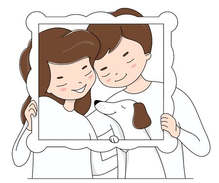 Happy couple in love in white clothes and their dog. A woman and a man hold a photo frame. Vector illustration on a white background.