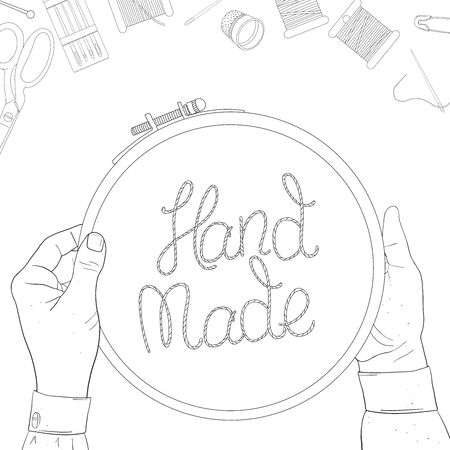 Womens hands and embroidery hoops with creative lettering on a white background. Skeins of thread, needles. Vector illustration in sketch style. Template. Hand-drawn.