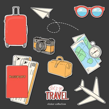 Collection of stickers on the theme of travel, recreation and adventure. Get ready for your journey. Suitcase on wheels, documents, camera, airplane and summer accessories. Hand-drawn.