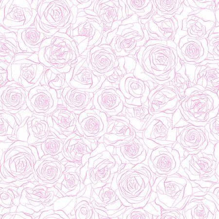 Seamless pattern with rose flowers. Monochrome vector illustration. Pink outline on a white background. Hand-drawn. Ilustração
