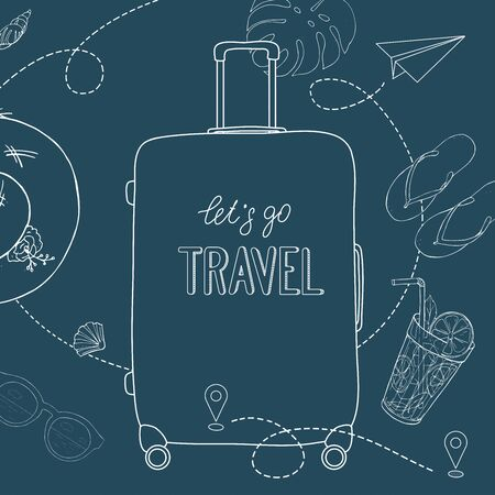 Poster on the theme of summer travel, leisure and adventure. A large suitcase on wheels, a refreshing cocktail and summer accessories. White outline on a blue background. Hand-drawn.