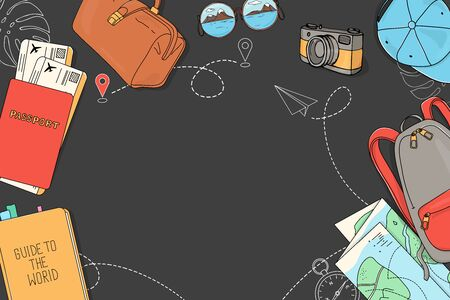 Poster on the theme of travel, recreation and adventure. Luggage, documents, map, camera, and space for your text. Travel items on a dark background. Hand-drawn. Horizontally. Ilustração