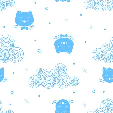 Seamless pattern with cat heads and hand-drawn clouds. Blue silhouettes on a white background. Monochrome vector illustration. Ilustração