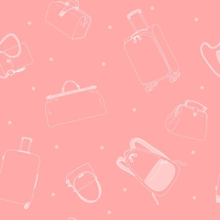 Seamless pattern with travel bags, wheeled suitcases and a backpack. Monochrome vector illustration in sketch style. White outline on a pink background. Hand-drawn. Ilustração