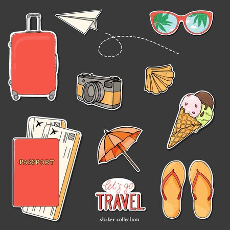 Collection of stickers on the theme of summer travel, recreation and adventure. Get ready for your journey. A suitcase on wheels, documents, a camera and summer accessories. Hand-drawn.