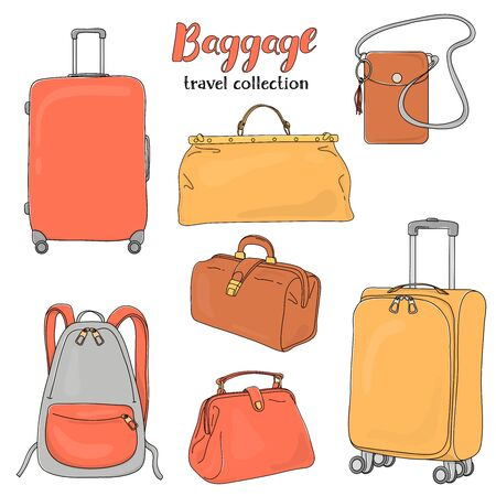 Set with travel bags and suitcases on a white background. Colorful vector illustrations in sketch style. Baggage for travel and adventure.