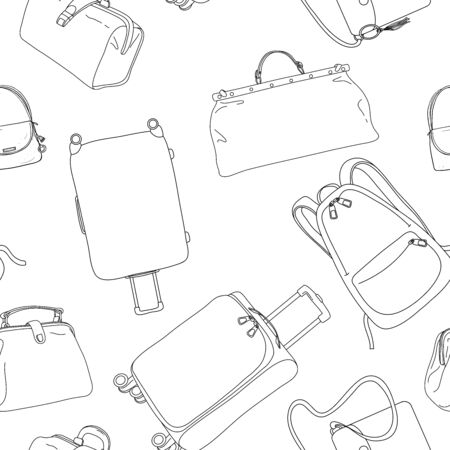 Seamless pattern with travel bags, wheeled suitcases and a backpack. Black outline on a white background. Vector illustration in sketch style. Hand-drawn.