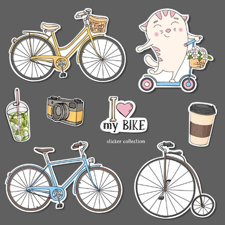 Collection of stickers with the bikes. Colorful vector illustration in sketch style. Various bicycles, a cat on a scooter and coffee to take away. Hand-drawn.