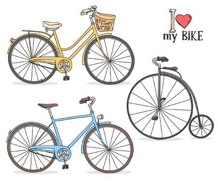 Set with different models of bicycles. Colorful vector illustration in sketch style. Hand-drawn.