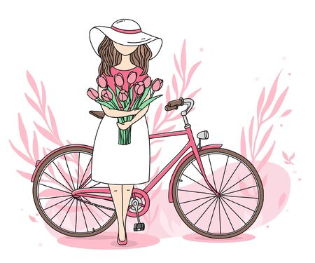 Romantic postcard with a girl and a Bicycle on a white background. A young woman holds a huge bouquet of pink tulips. Colorful vector illustration in sketch style. Hand-drawn.