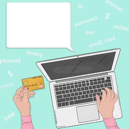 An unrecognizable person pays for online purchases with a credit card. Laptop and hands with a credit card. The view from the top. Colorful vector illustration in sketch style. Hand-drawn.