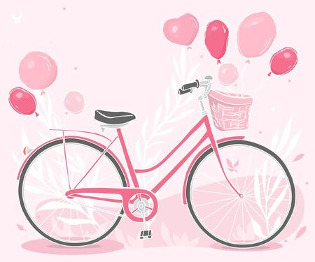 Greeting card with a Bicycle and balloons. A pink Bicycle with a basket and balloons tied to it. Happy birthday. Hand-drawn. Colorful vector illustration in sketch style. Ilustração
