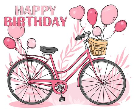 Greeting card with a Bicycle and balloons. A pink Bicycle with a basket and balloons tied to it. Happy birthday. Hand-drawn. Vector illustration in sketch style.
