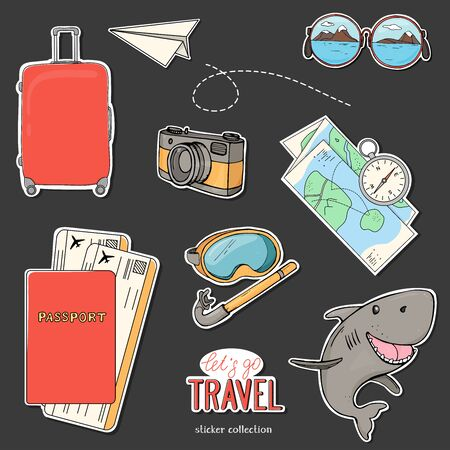 Collection of stickers on the theme of summer travel, recreation and adventure. A suitcase on wheels, documents, a camera, a diving mask, and a map. Hand-drawn.