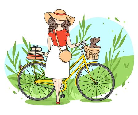 Girl with a Bicycle and a dog in a basket on the background of nature. Colorful vector illustration in sketch style. Hand-drawn.