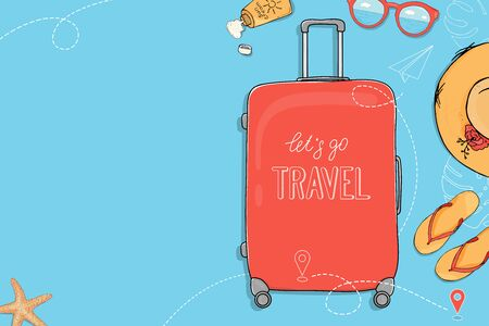 Poster on the theme of summer travel. A suitcase on wheels, summer accessories and a place for your text on a blue background. Hand-drawn. Mock up. Template. Horizontally.