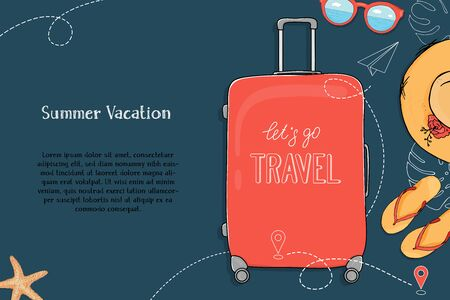 Poster on the theme of summer travel. A suitcase on wheels, summer accessories and a place for your text on a dark blue background. Hand-drawn. Mock up. Template. Horizontally.