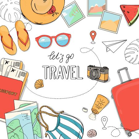 Poster on the theme of summer travel, leisure and adventure. Documents, Luggage and travel accessories on a white background.. Hand-drawn.