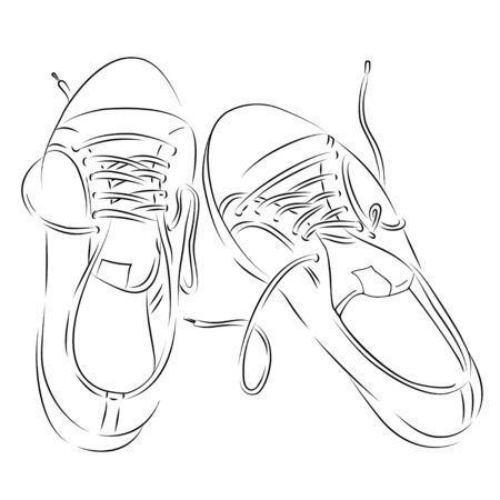 Hand-drawn sneakers. Black and white vector illustration in sketch style. Black outline on a white background.