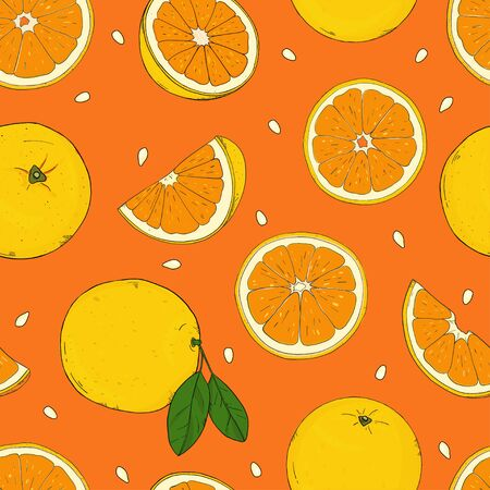 Seamless pattern with citrus. Yellow lemons and oranges on an orange background. Colorful vector illustration in sketch style.