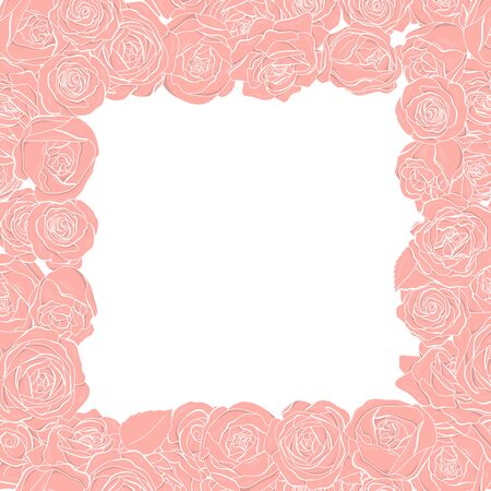 Frame with rose flowers on a white background. Colorful vector illustration.