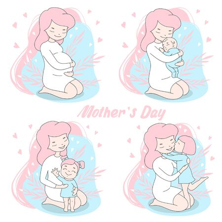Set with young mother. Pregnancy, newborn and todler. Cute woman with children. Colorful vector illustrations on a white background. Mothers day.