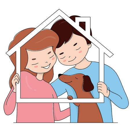 Happy couple in love and their dog hold a frame in the shape of a house. Colorful vector illustration in sketch style.