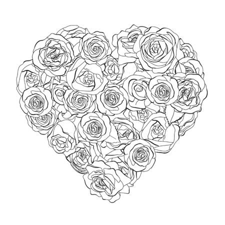 Heart-shaped rose flowers. Black outline on a white background. Black and white vector illustration in sketch style. Romance. Valentines day. Ilustração