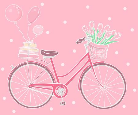 Greeting card with a Bicycle, books, balloons and a bouquet of tulips in the basket. Pink retro bike on pink background. Happy Birthday. Hand-drawn. Colorful vector illustration in sketch style.