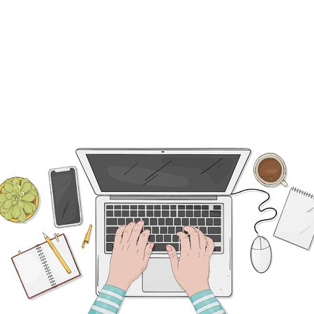 Person is working on a laptop in the office. Laptop, phone, Notepad, coffee and hands. Desktop top view and space for your text. Colorful illustration in sketch style. Hand-drawn. Template.