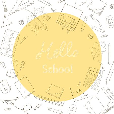 Creative frame on the theme of education. School supplies and space for your text. Vector illustration in sketch style. Black outline on a white background. Hand-drawn.
