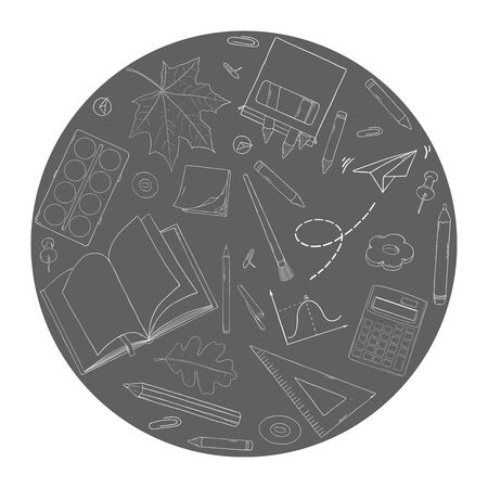 Poster on the topic of education. School supplies are arranged in a circle. White outline on a dark background. Vector illustration in sketch style. Hand-drawn.