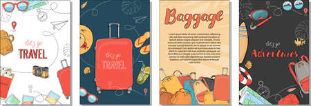 Set of posters on the theme of summer travel, leisure and adventure. Documents, Luggage and travel accessories. Hand-drawn.