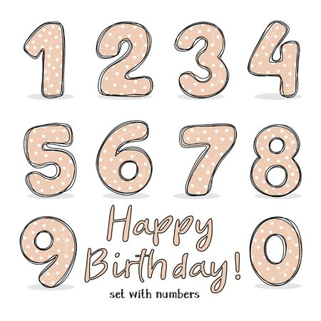 Set with numbers from 0 to 9. a Holiday set for a party, birthday, anniversary and wedding celebration. Vector illustration in sketch style. Hand-drawn. Ilustração