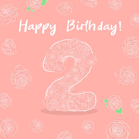 Number two with rose flowers for childrens birthday. For a holiday card, invitation, cake and greeting. Vector illustration in sketch style. Hand-drawn. Ilustração