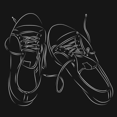 Hand-drawn sneakers. Black and white vector illustration in sketch style. White outline on a black background. Hand-drawn.