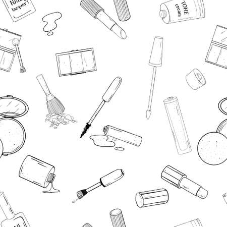 Seamless pattern with decorative cosmetics. Black outline on a white background. Vector illustration in sketch style. Hand-drawn.