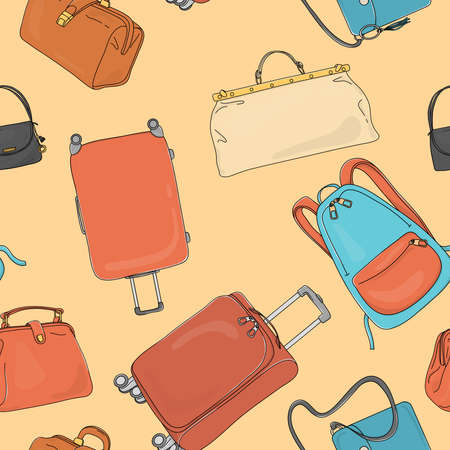 Seamless pattern with travel bags, wheeled suitcases and a backpack. Colorful vector illustration on a yellow background in sketch style. Hand-drawn. Ilustração