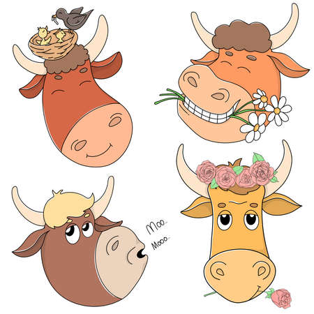 Set with the heads of cute bulls and cows. Portrait. Cartoon bulls with flowers on their heads and in their mouths smile. Colorful vector illustration.