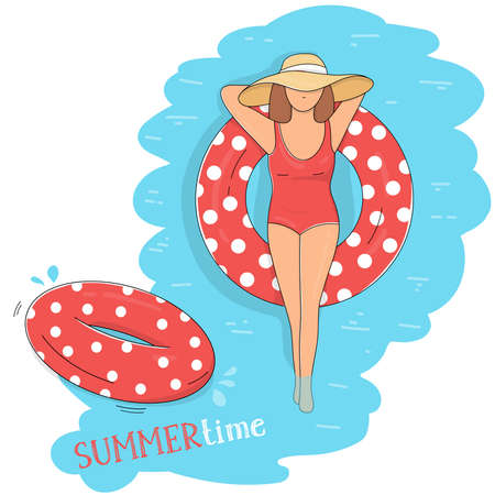 Woman in a red swimsuit sunbathes in a swimming pool with an inflatable swimming circle top view. Summer time poster. Summer vacation on the coast. Colorful vector illustration.  Ilustração