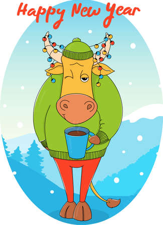 Cute bull in a green sweater and hat with a Cup of coffee. Cartoon character on the background of a winter landscape. Colorful vector illustration. Happy new year greeting card. 2021 year of the bull.
