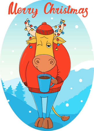 Cute bull in a red sweater and hat with a Cup of coffee. Cartoon character on the background of a winter landscape. Colorful vector illustration. Christmas greeting card.