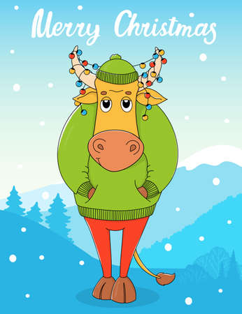Cute bull in a green sweater and hat. Cartoon character on the background of a winter landscape. Colorful vector illustration. Christmas greeting card.