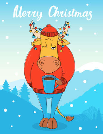 Cute bull in a red sweater and hat with a Cup of coffee. Cartoon character on the background of a winter landscape with a Christmas garland in horns. Colorful vector illustration. Christmas card.
